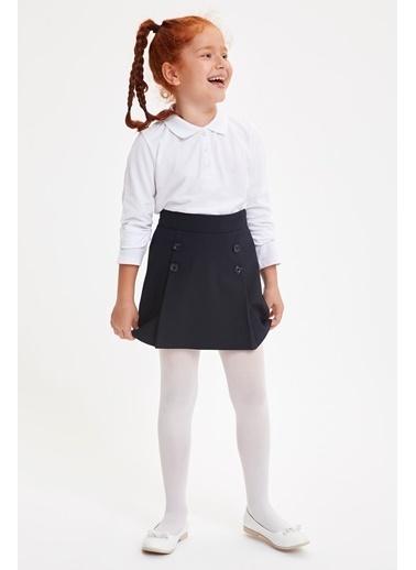 DeFacto Kız Çocuk Uzun Kollu Polo T-shirt Beyaz